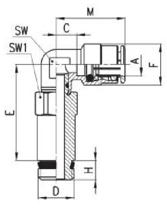 FAC06-M5 Фитинг Угловой удлинённый