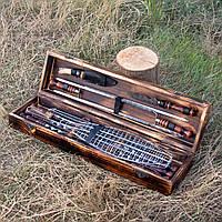 """Подарочный набор шампуров ручной работы в деревянном кейсе""""Турист"""""""