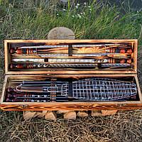 """Набор шампуров ручной работы в деревянном кейсе """"Охотничий"""""""