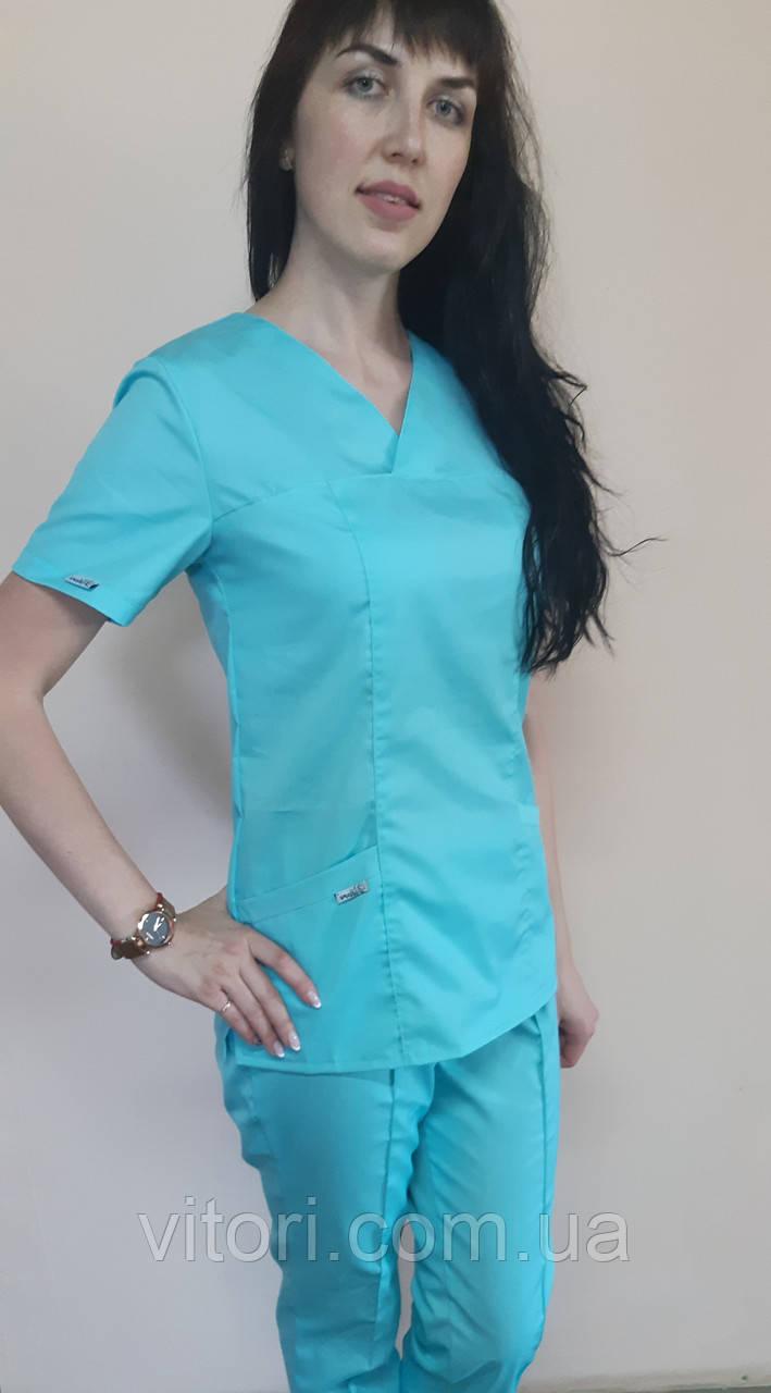 Женский хирургический костюм Классик коттон 56 размер три четверти рукав