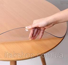 Скатерть мягкое стекло на круглый стол Soft Glass (Ø - 1.2м) толщина 1.5 мм Прозрачная