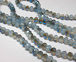 Бусины хрустальные (Рондель) 8х6мм  пачка - примерно 70 шт, цвет - лунный камень с синим бочком