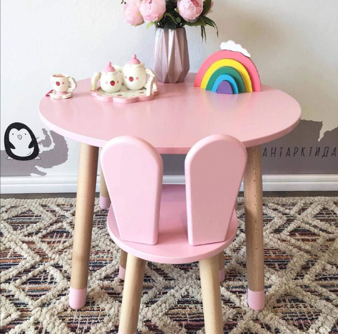 Детский стол и 1 стул (деревянный стульчик зайка и круглый столик)