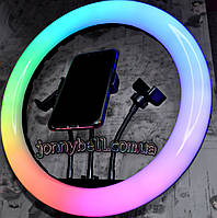 Разноцветная кольцевая LED лампа RGB MJ36, диаметр 36 см, управление на проводе + пульт (со штативом 210см)