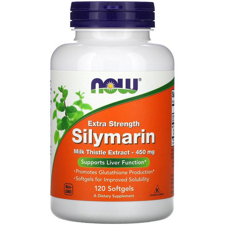 """Силимарин NOW Foods """"Silymarin"""" сильнодействующий экстракт, 450 мг (120 гелевых капсул)"""