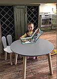 Детский стол и 1 стул (деревянный стульчик зайка и круглый столик), фото 4