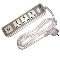 Сетевой фильтр удлинитель 1.8м, 3 розетки + 2 USB 10А 2500Вт, GK-8194