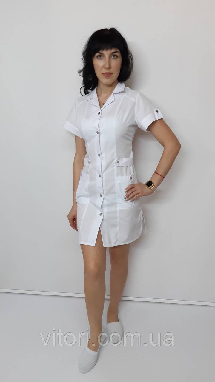 Медицинский женский халат Хлястик хлопок короткий рукав
