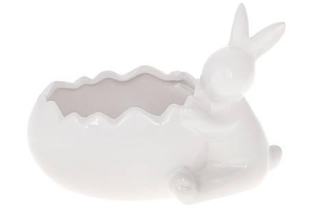 Кашпо декоративное с фигуркой Кролик , 20см, цвет - белый(733-387), фото 2