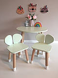 Детский стол и 2 стула (деревянный стульчик мишка и круглый столик), фото 3