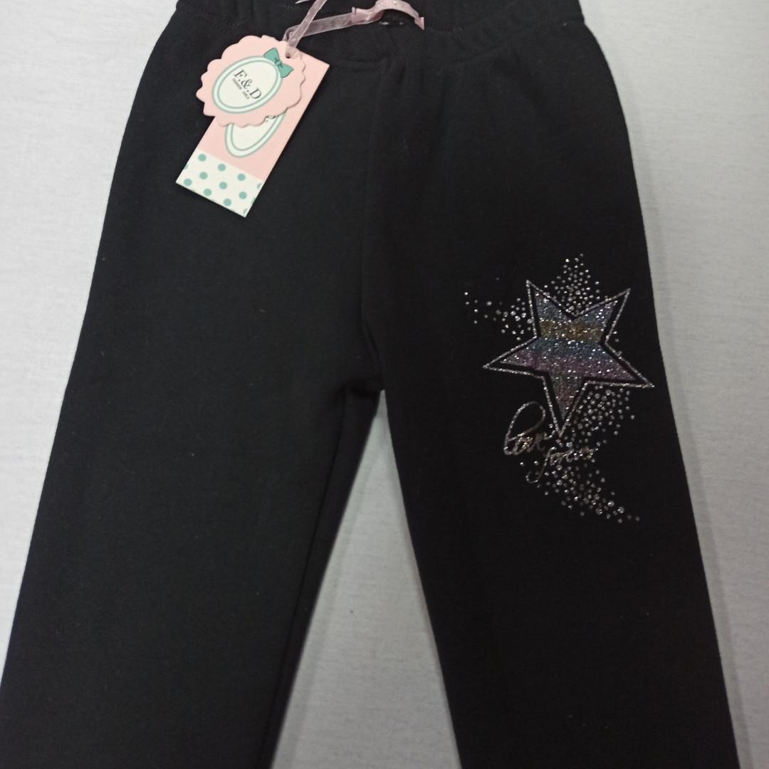 Лосины модные красивые нарядные теплые чёрного цвета на меху для девочки. Украшение- аппликация.