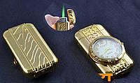 Зажигалка -часы золотистая