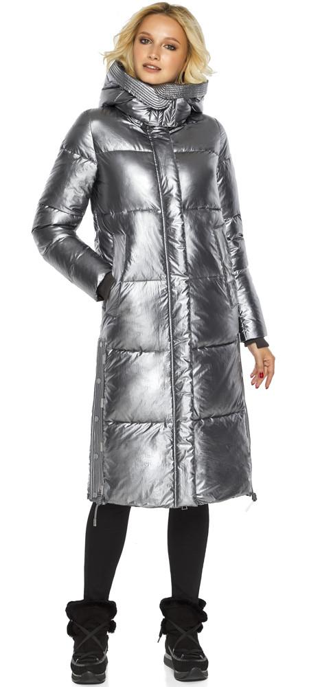 Зимняя куртка женская цвет серебро модель 42650