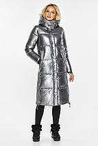 Зимняя куртка женская цвет серебро модель 42650, фото 2