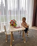 Дитячий стіл, 1 стілець (дерев'яний стільчик зайчик і квадратний столик), фото 4