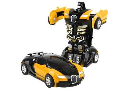 Машинка трансформер с пультом Bugatti Robot Car Size 118 Желтая 184494
