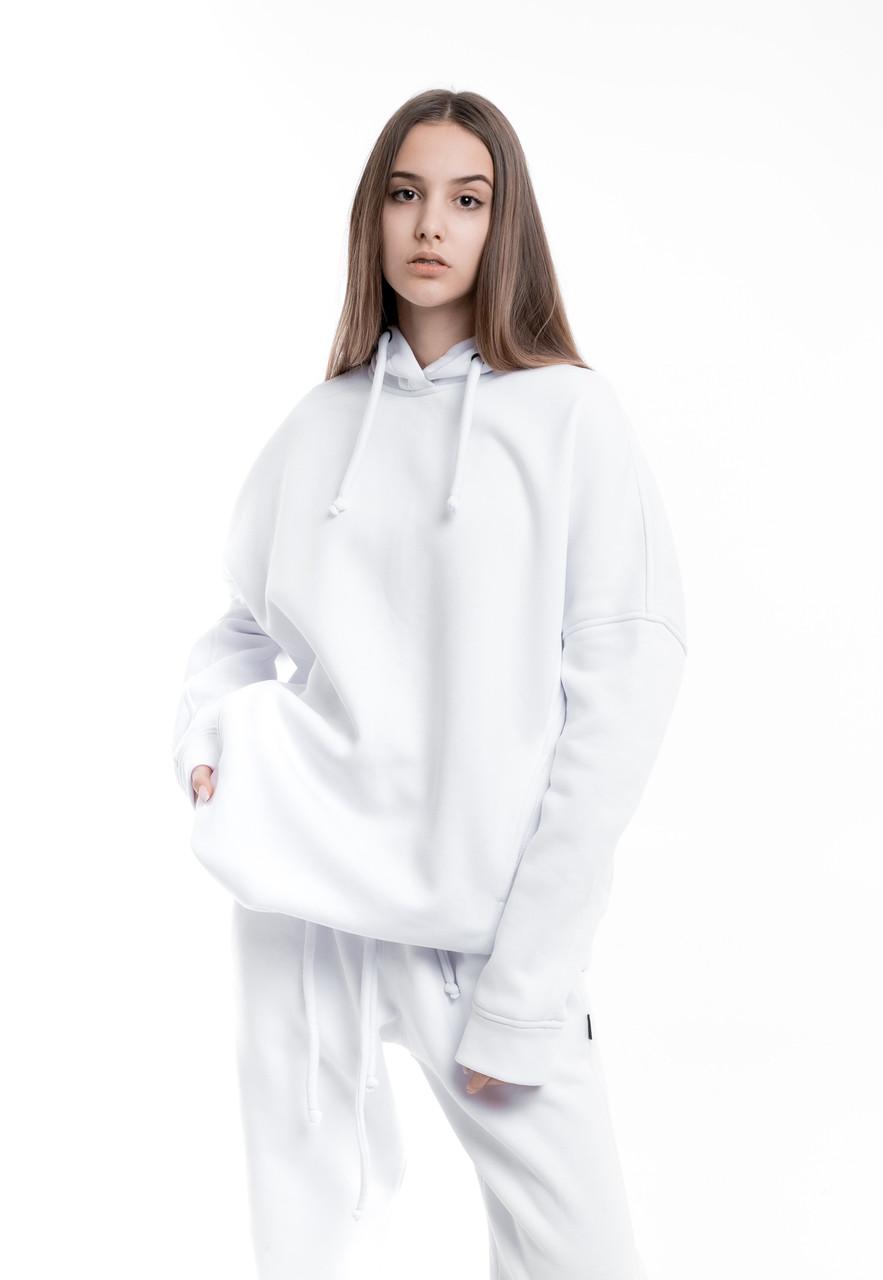 Худи Женское теплое зимнее демисезонное Intruder Brand белое на флисе кофта толстовка Oversize