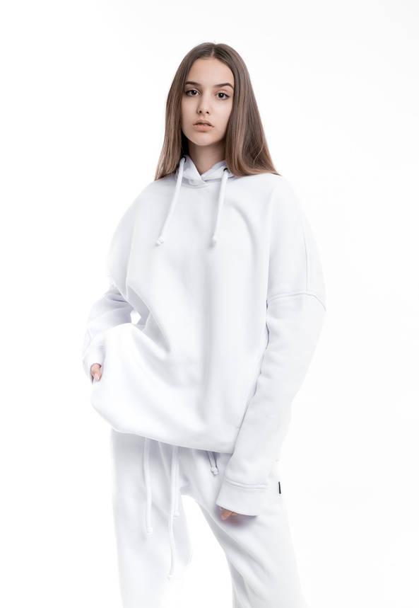 Худи Женское теплое зимнее демисезонное Intruder Brand белое на флисе кофта толстовка Oversize, фото 2