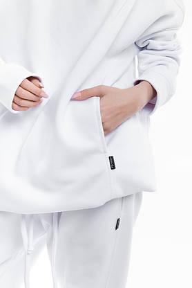 Худи Женское теплое зимнее демисезонное Intruder Brand белое на флисе кофта толстовка Oversize, фото 3