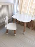 Дитячий стіл, 1 стілець (дерев'яний стільчик зайчик і стіл полуоблако), фото 3