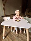 Дитячий стіл, 1 стілець (дерев'яний стільчик зайчик і стіл полуоблако), фото 4