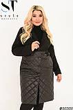 Демісезонне пальто жіноче Кашемір і стьобана плащівка на синтепоні Розмір 48 50 52 54 56 58 60 62, фото 7