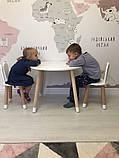 Детский стол и 2 стула (деревянные стульчики зайка и круглый столик), фото 3