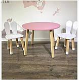 Детский стол и 2 стула (деревянные стульчики зайка и круглый столик), фото 4