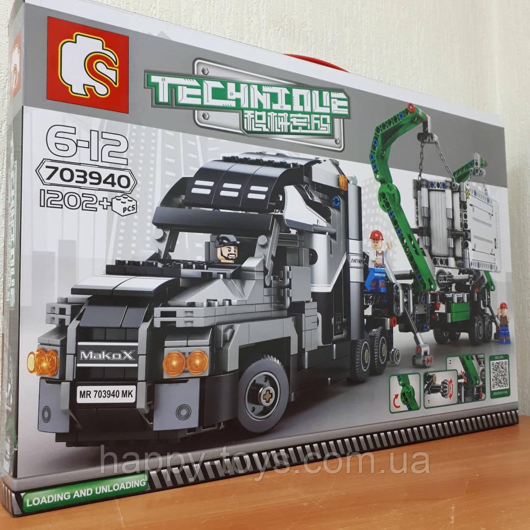 Конструктор Грузовик с прицепом Sembo Block 703940 1202 детали