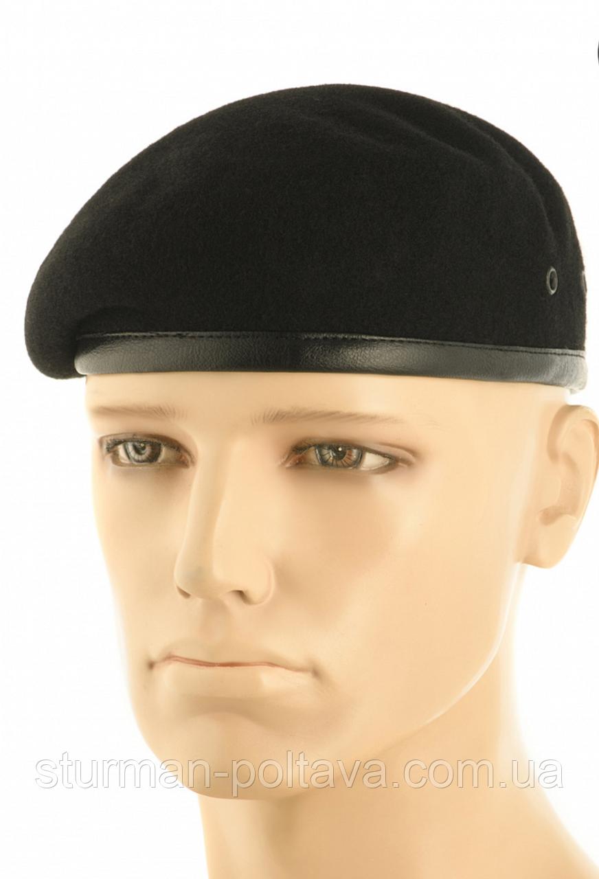 Берет мужской армейский  безшовный   шерстяной  цвет черный  MFH   Германия