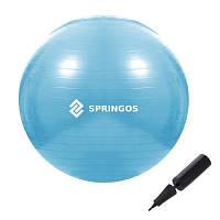 Мяч для фитнеса фитбол Springos 55 см Anti-Burst Sky Blue SKL41-277821