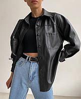 Рубашка женская из эко кожи 384 (S-M; L-XL oversize) (цвета: черный) СП, фото 1