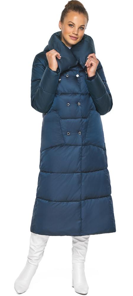 Куртка сапфировая женская зимняя с манжетами модель 46150