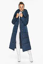 Куртка сапфировая женская зимняя с манжетами модель 46150, фото 3