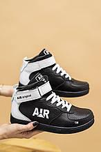 Подростковые кроссовки кожаные зимние черные-белые CrosSAV 333