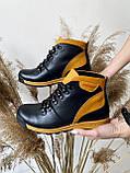 Подростковые ботинки кожаные зимние черные-рыжие Brand T2, фото 6
