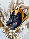 Подростковые ботинки кожаные зимние черные-рыжие Brand T2, фото 7