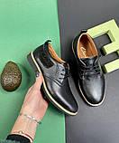 Подростковые туфли кожаные весна/осень черные Yuves М6, фото 7
