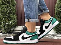 Мужские кожаные кроссовки в стиле Nike Air Jordan 1 Low белые с зелёным, фото 1
