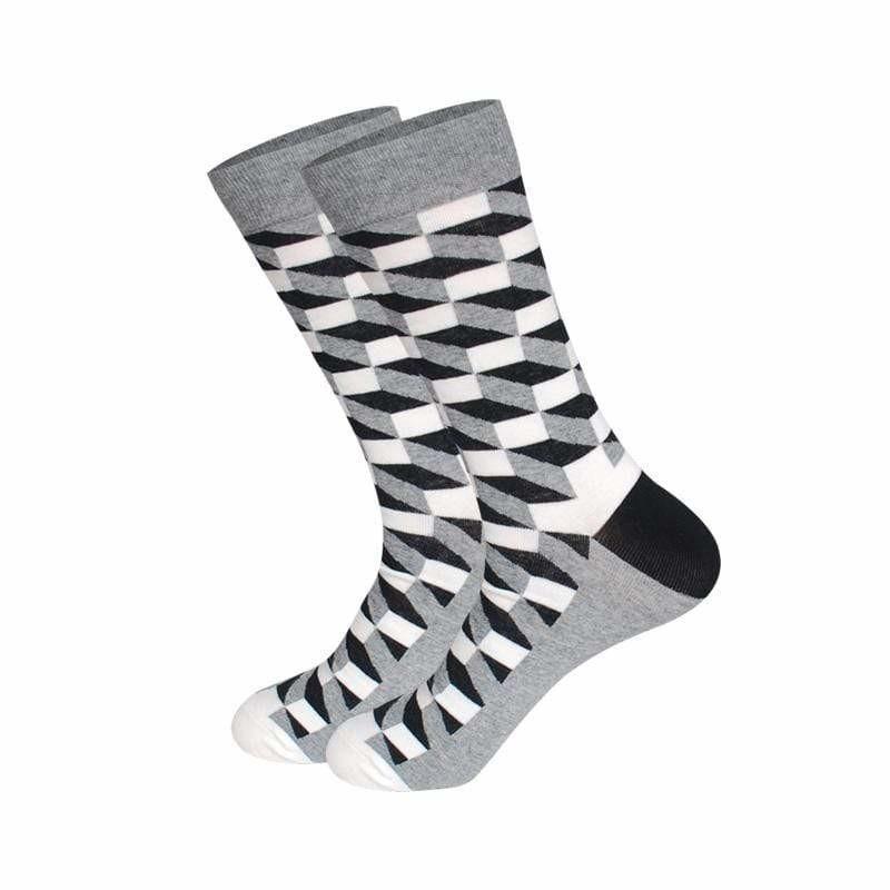 Высокие носки Friendly Socks серые с оптическим принтом
