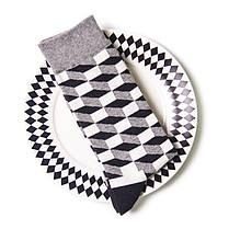 Высокие носки Friendly Socks серые с оптическим принтом, фото 3