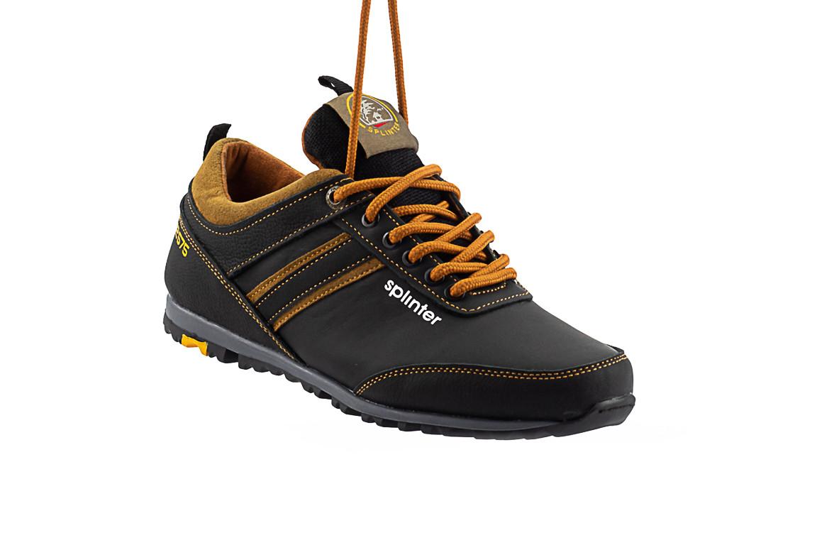 Подростковые кроссовки кожаные весна/осень черные-коричневые Splinter Boy 5312