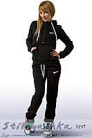 Женский теплый спортивный костюм Найк конверт черный, фото 1