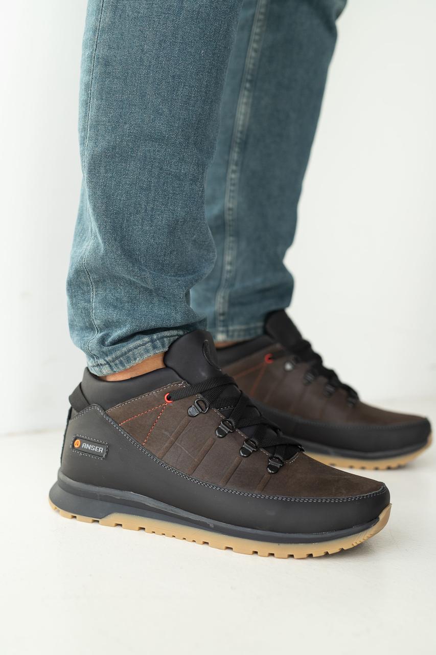 Мужские кроссовки кожаные зимние черные-коричневые Anser 101