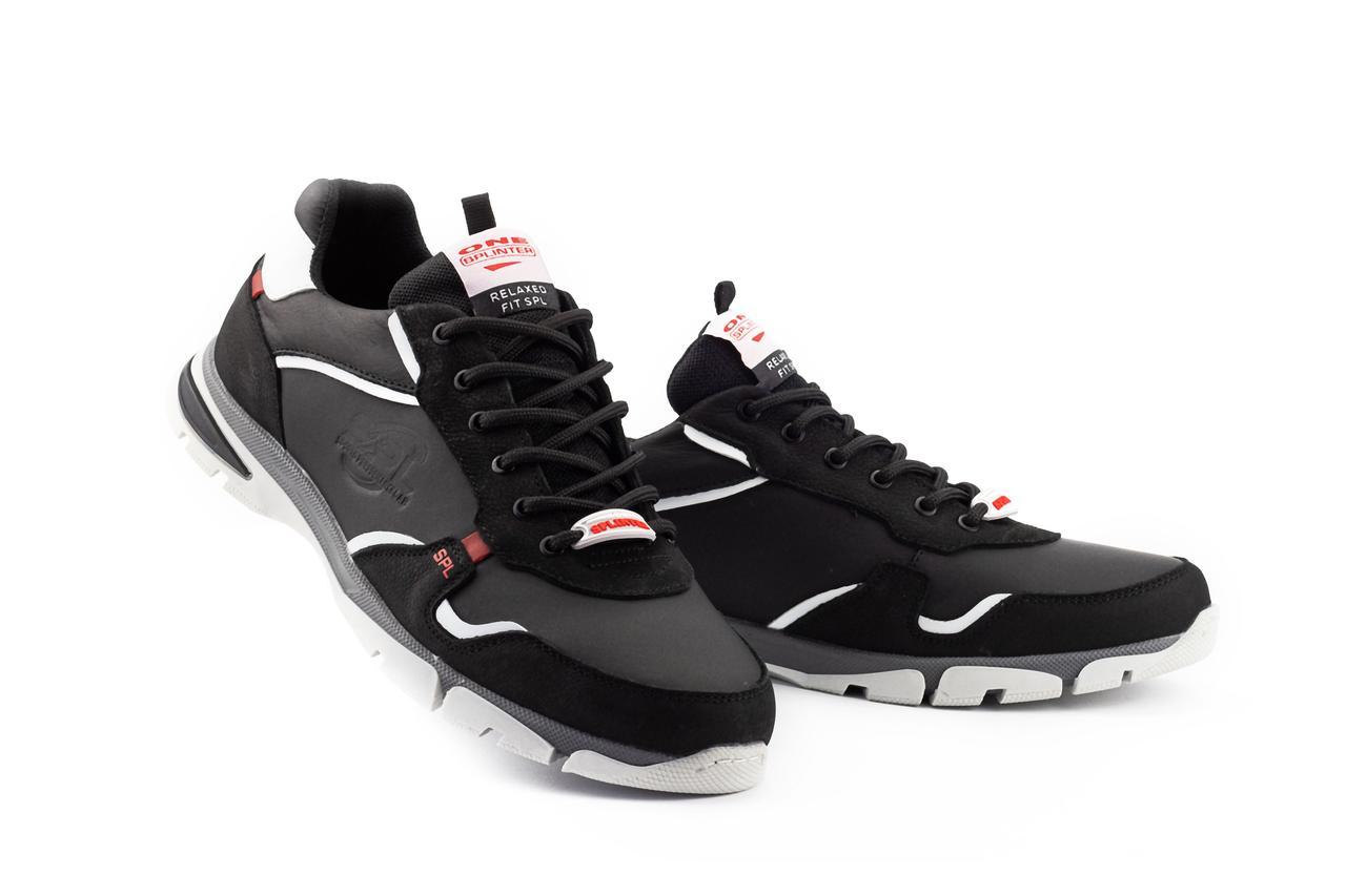 Мужские кроссовки кожаные весна/осень черные Splinter Relaxed 1220
