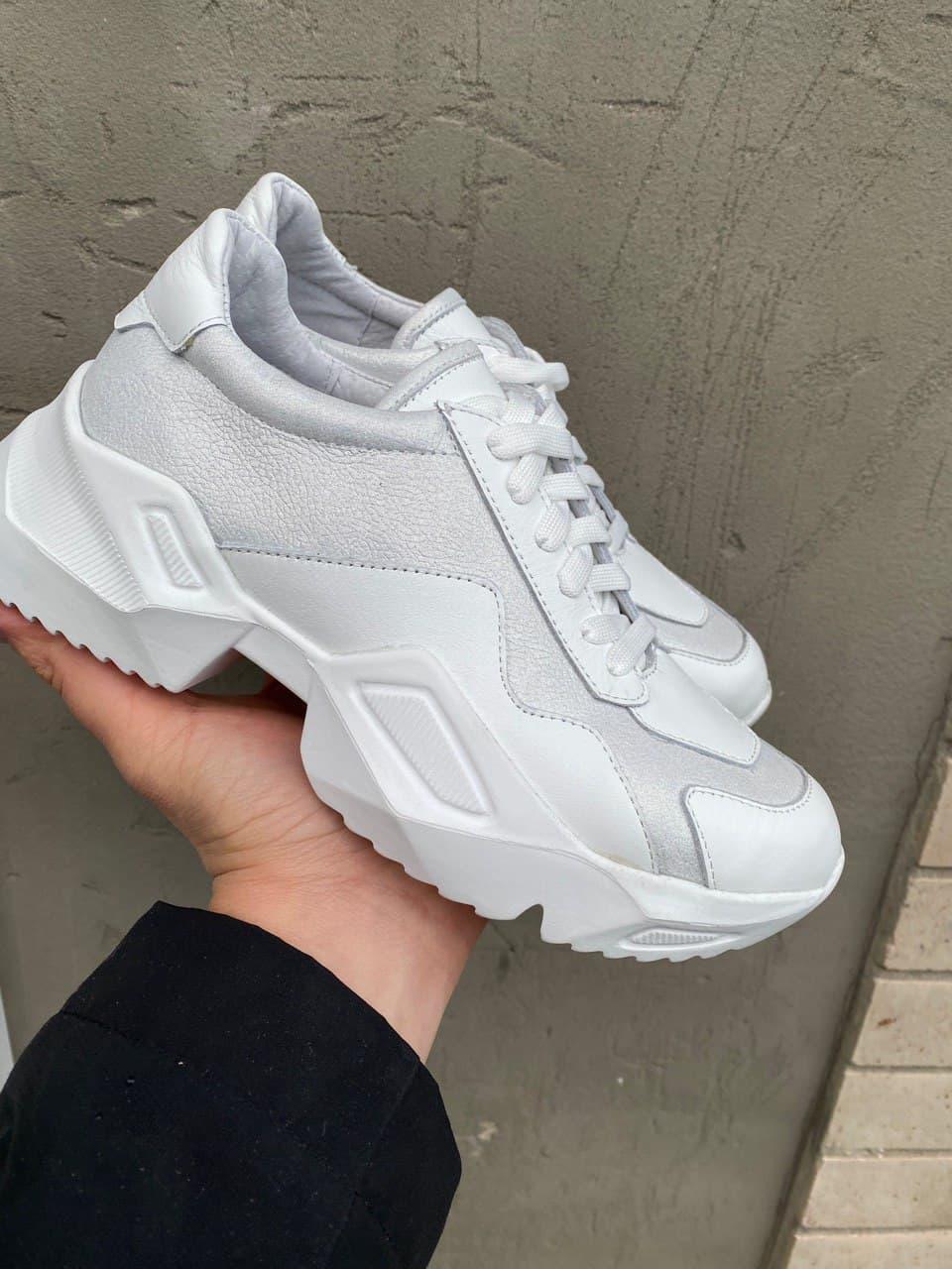 Женские кроссовки кожаные весна/осень белые-серые Obr 21132 White Edition