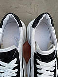 Женские кроссовки кожаные весна/осень белые-черные Obr 21133 White Edition, фото 2