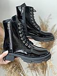 Женские ботинки кожаные весна/осень черные-лак Yuves 129 байка, фото 5