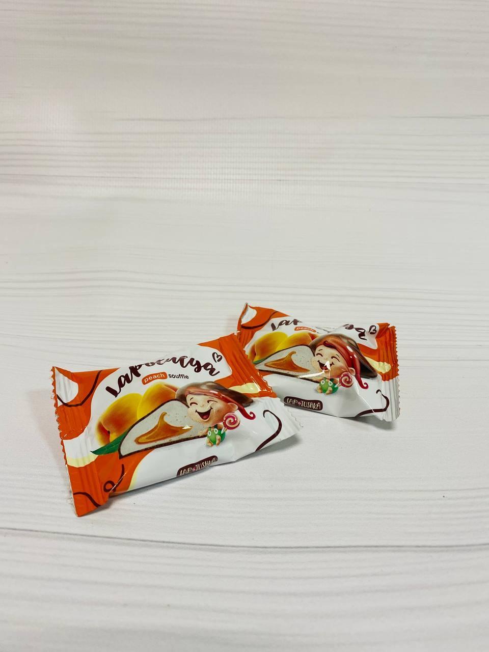 Конфеты Суфле Лапотуля со вкусом персика 2,5кг. ТМ Лапотушка