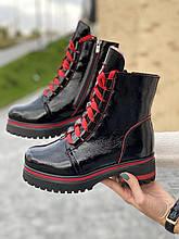 Женские ботинки кожаные зимние черные-красные Topas Casual 11143